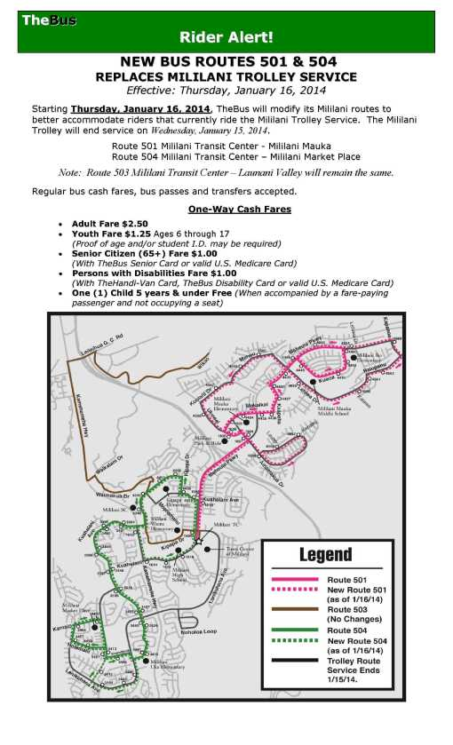 Rider Alert! New Bus Routes 501 & 504 Replaces Mililani Trolley