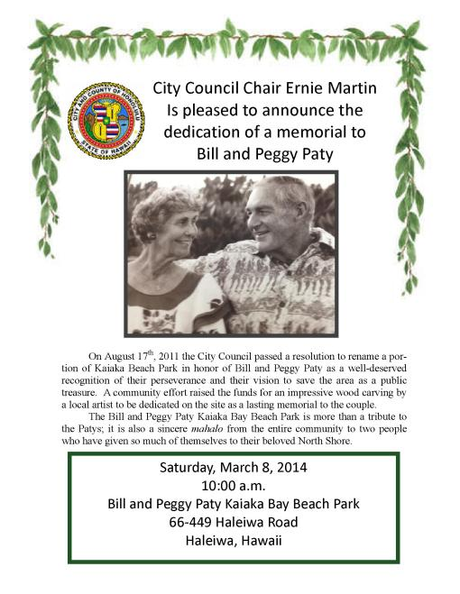 Bill and Peggy Paty Sign Dedication Flyer