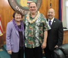 Councilmember Ann Kobayashi, Frank DeLima and Council Chair Ernest Martin take a moment before the Message of Aloha was delivered by Frank DeLima.