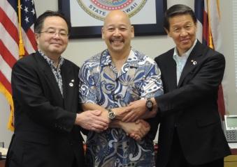 From Left to Right: Chigasaki Mayor Nobuaki Hattori, Honolulu City Council Chair Ernest Martin and Chigasaki Council Chair Tadao Hirose.