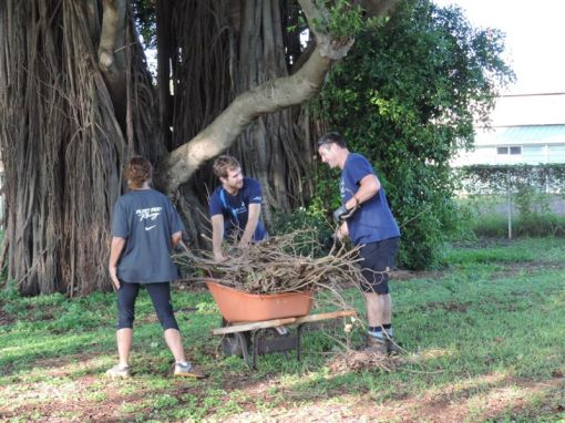 Volunteers from First Wind hauling branches and other debris.