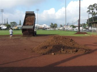 Dirt came by the truckload to fix the Wahiawa Softball Field.