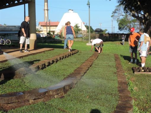 The Waialua Bandstand after the installation of new sod.