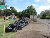 Green waste in dumpster, trash bags and in piles against the wall.