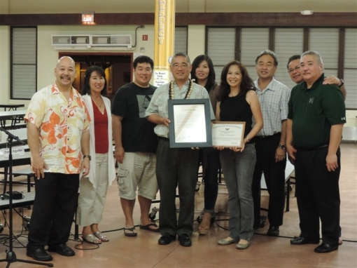 Council Chair Ernie Martin and the Mililani Mauka/Launani Valley Neighborhood Board No. 35 recognizing Keith Y. Tamashiro on his promotion to Brigadier General.