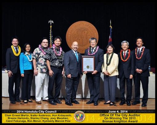 2013 Bronze Knighton Award Winner, the City and County of Honolulu Auditor's Office. From the Auditor's office: Auditor Edwin Young, Legislative Analyst Wayne Kawamura, and Legislative Analyst Darin Kawamoto.