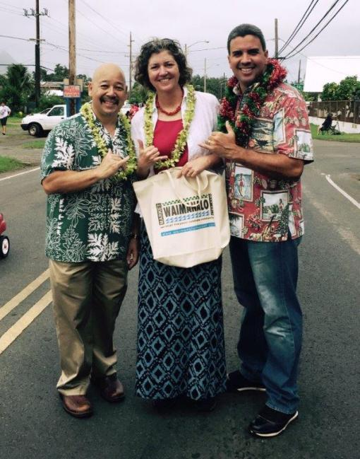 Council Chair Ernest Martin enjoying the holidays in Waimanalo with Senator Laura Thielen and Vice-Chair Ikaika Anderson.
