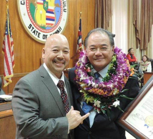 Council Chair Ernie Martin and Reed Matsuura