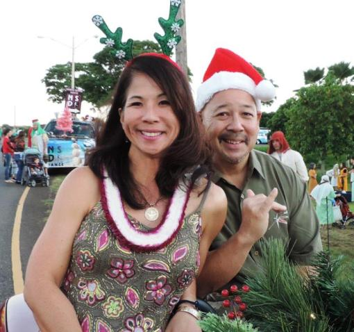 Council Chair Ernest Martin and Melanie at the Haleiwa Christmas Parade