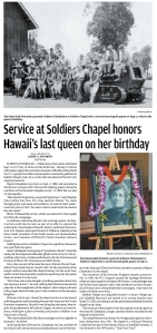 Service at Soldiers Chapel honors Hawaii's last queen on her birthday_20150911