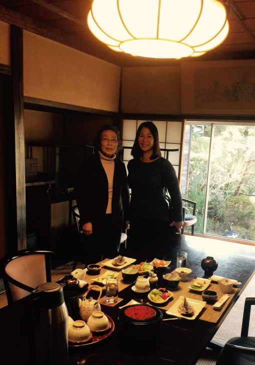 Melanie Martin with Mrs. Haruko Mori, the owner and chef. Mrs. Mori's family runs the traditional Japanese Inn.
